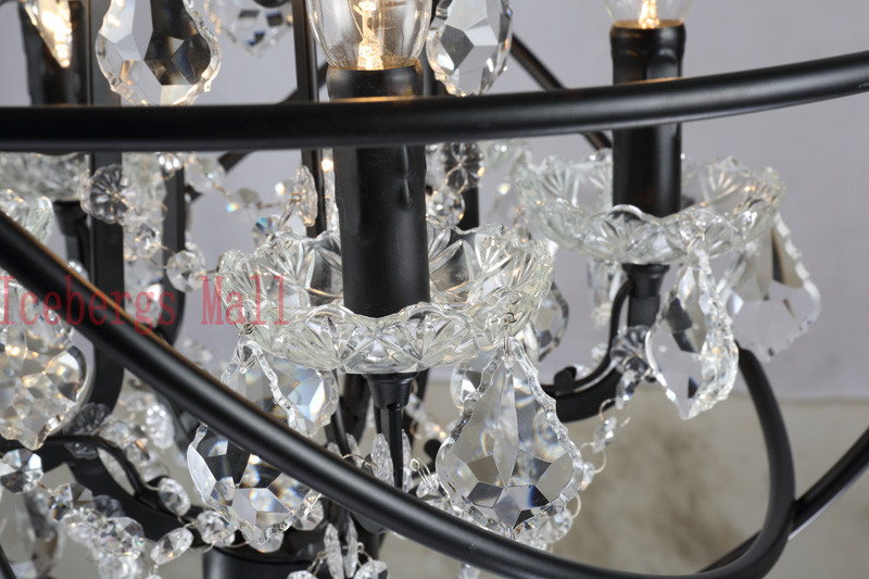 Nordic Iron Chain Cage Crystal Pendant Lights American RH Industrial Lamp Vintage Home Decor Hanging Light For Living Room7