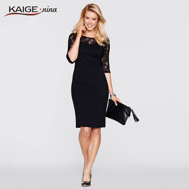 Kaige.Nina Women Dress Autumn Sexy Lace Dresses Black Colour Plus Size Sexy Fashion Female Clothing Evening Party Dresses 98013