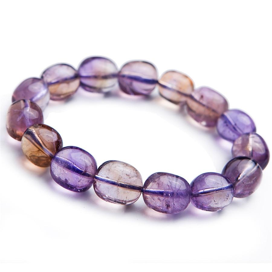 Purple Yellow Natural Citrine Amethyst Ametrine Bracelets Woman Man Stretch Crystal Bead Bracelet Aaaaa In Bangles From Jewelry