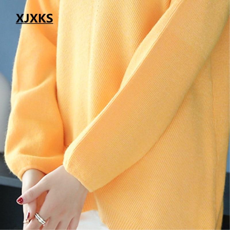 Y Negro Suéter púrpura Streetwear 2018 Señoras Moda Suéteres caqui Nueva De Jóvenes Xjxks Mujeres La Otoño naranja Llegada Mujer Ropa 87Ag7FP
