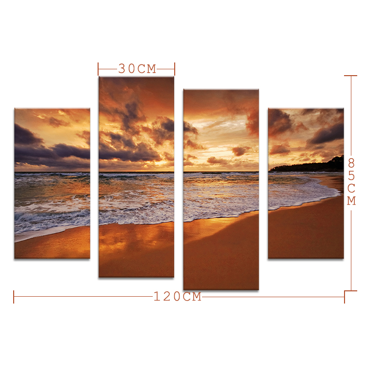 2015 4PCS  oil painting The beach at sunset  Wall Art Home Decoration Living Room Print On Canvas Modern oil Painting