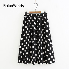 Dot Print Korean Skirts Women Elastic High Waist Loose Plus Size Midi Skirt Black White KKFY3072