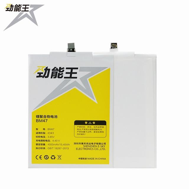 JLW 4000mAh BM47 Cell Phone Battery For Xiaomi Redmi 3 Battery 3S 3X 3 pro Red Rice Hongmi 3X Battery