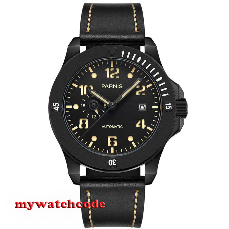 43mm Parnis black dial PVD Sapphire Glass 21 jewels miyato Automatic mens Watch цена и фото