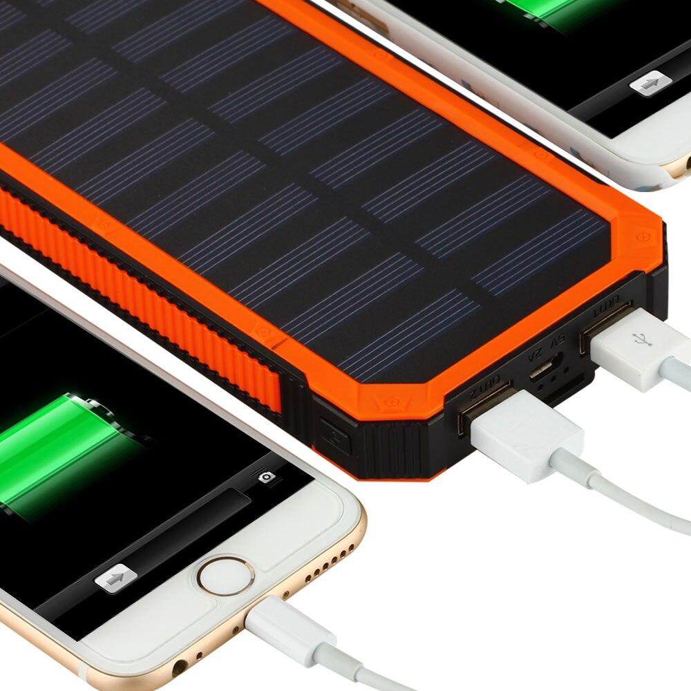Solar Power Bank 20000mah Dual Usb Charging Waterproof