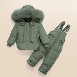 IYEAL Kids Clothes Girls Boys Down Coat Children Warm Snowsuit Outerwear + Romper Clothing Set Russian children's Winter jackets