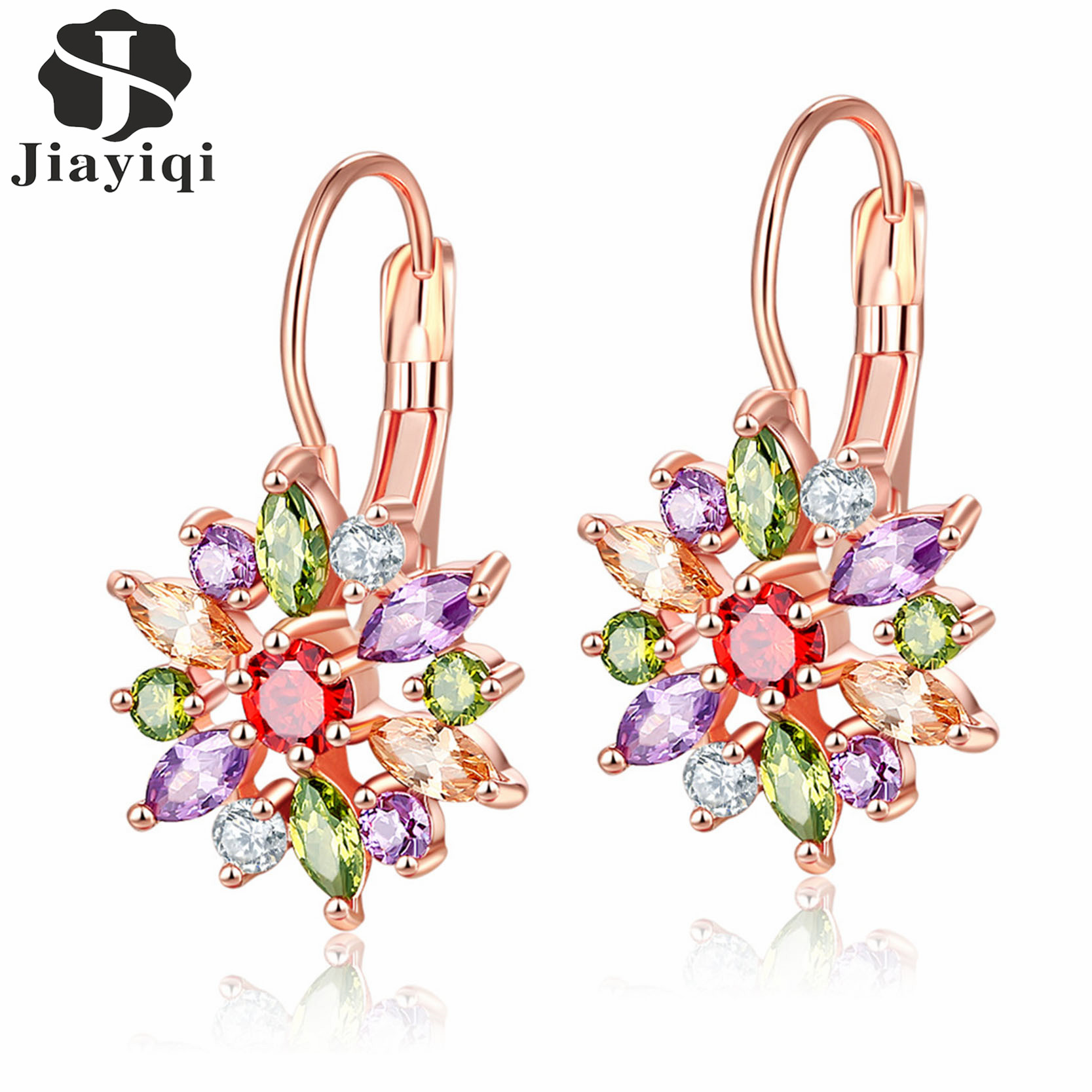 Hot Flower Design Multicolor Earrings Rose Gold Color AAA Cubic Zirconia Stud Earring For Women Luxury Jewelry Gift 2017