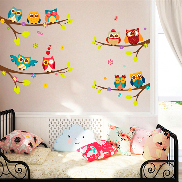 cartoon owl branch wall decals for kids rooms living room bedroom home decor diy animal wall stickers pvc posters mural art