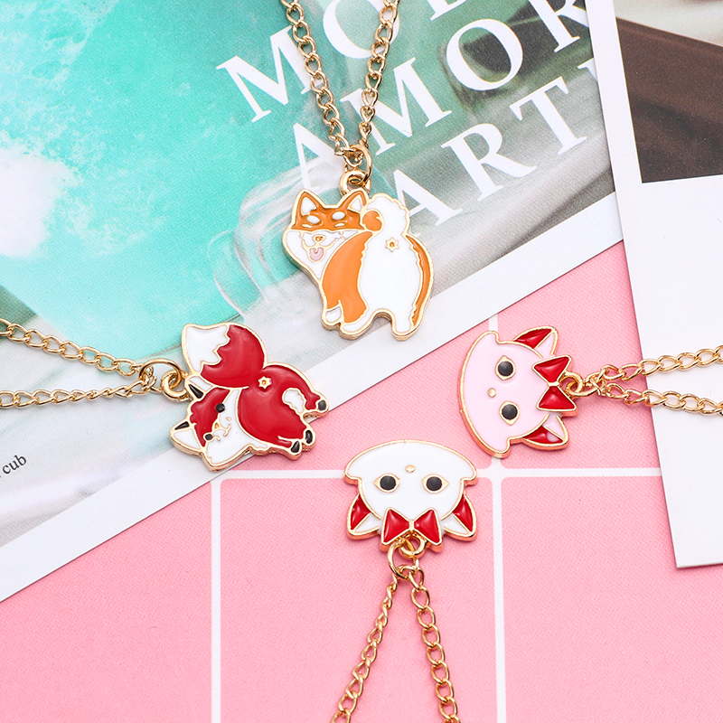 Creative Cute Animal Kitten Small Fox Alloy Pendant Necklace Color Drop Oil Fashion Girl Gold Chain Girl Holiday Gift DIY in Pendant Necklaces from Jewelry Accessories