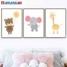 Cartoon Bear Giraffe Elephant Wall Art Canvas Painting Nordic Posters And Prints Animals Pictures Kids Room Baby Decor