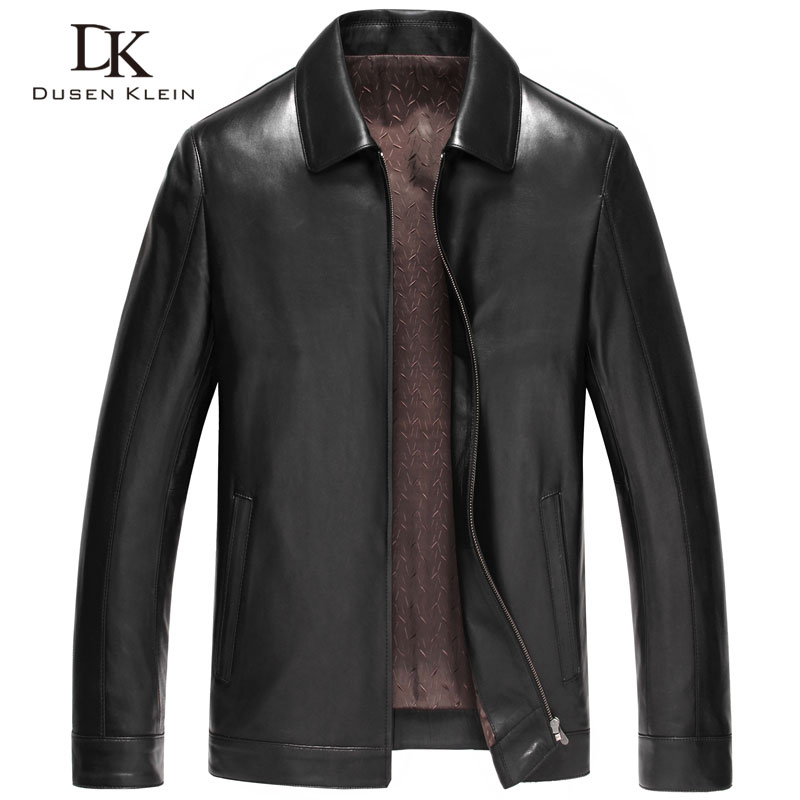 Dusen Klein Чоловіки Натуральна шкіряна куртка Осінь Верхній одяг Чорний / Тонкий / Простий Бізнес Стиль / Дублянка 14Z6608