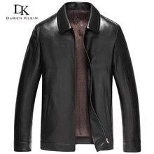 Dusen klein masculino jaqueta de couro genuíno outono outerwear preto/fino/simples estilo de negócios/pele carneiro casaco 14z6608