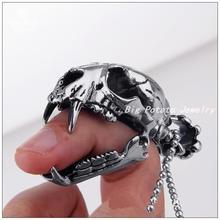 Новинка окаменелости динозавра мужской серебряный кулон из нержавеющей стали панк череп мужская подвеска ожерелье, один мода цепи для бесплатная