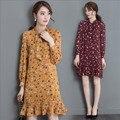 XXL 2017 Spring New Korean Women Casual Clothing Bohemian Floral Dresses Long Sleeve Printed Beach Chiffon Dress vestidos YY243