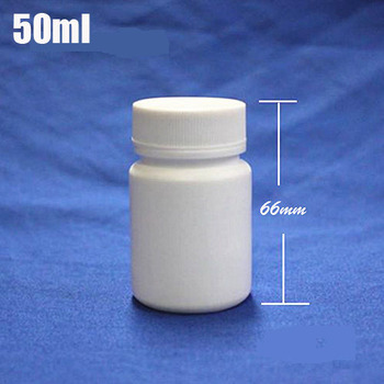 300pcs/lot Capacity 50ml White Plastic HDPE bottle with Screw Cap for Tablets Pills Capsule Medicine Food  Packaging