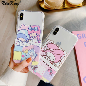 Niceking Lovely Sanrio Phone Case For iPhone 6 6s 7 8 Plus X XR XS Max 6 S Case Airbag Soft TPU Cover Case For iPhone 11 Pro Max(China)