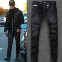 DSEL Marke Jeans Männer Neue Designer Casual 2017 Männer Jeans hohe Qualität Schwarz Farbe Dünne Zerrissene Jeans Elastische Hosen 100% baumwolle