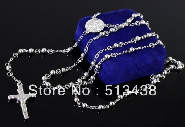 12c23be2f79ea 10 pcs en gros vente chaude bonne bijoux argent Acier Inoxydable 4mm balle  JUSE croix Chapelet