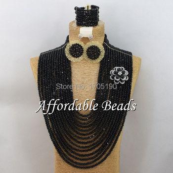 Black Fashion Jewelry Beads Set Popular Costume Jewelry Set Wholesale ABW038