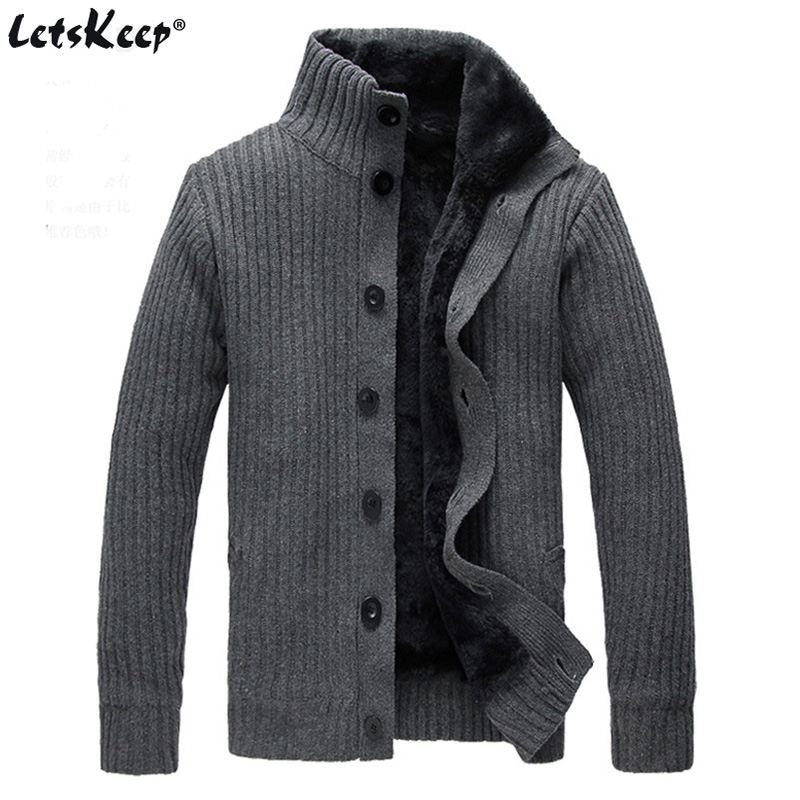 LetsKeep 2017 knitted mens sweater cardigan men wool winter thick sweaters casual fleece knitwear cardigan with button MA434 ...