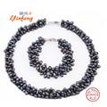 [YinFeng] 925 Серебро 100% Белый Естественные Пресноводные перлы Ювелирные Наборы жемчужное Ожерелье Браслет Ювелирные Наборы для женщин