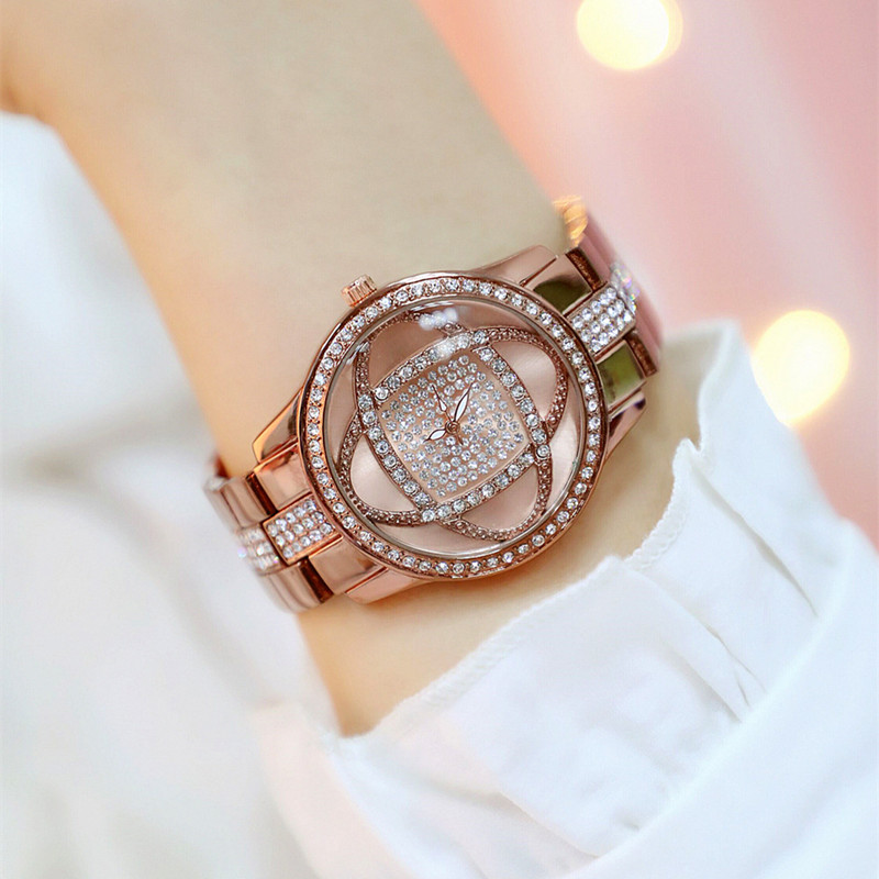 New hot selling rhinestone dial with no digital metal strap brown flower female table Fashion Casual