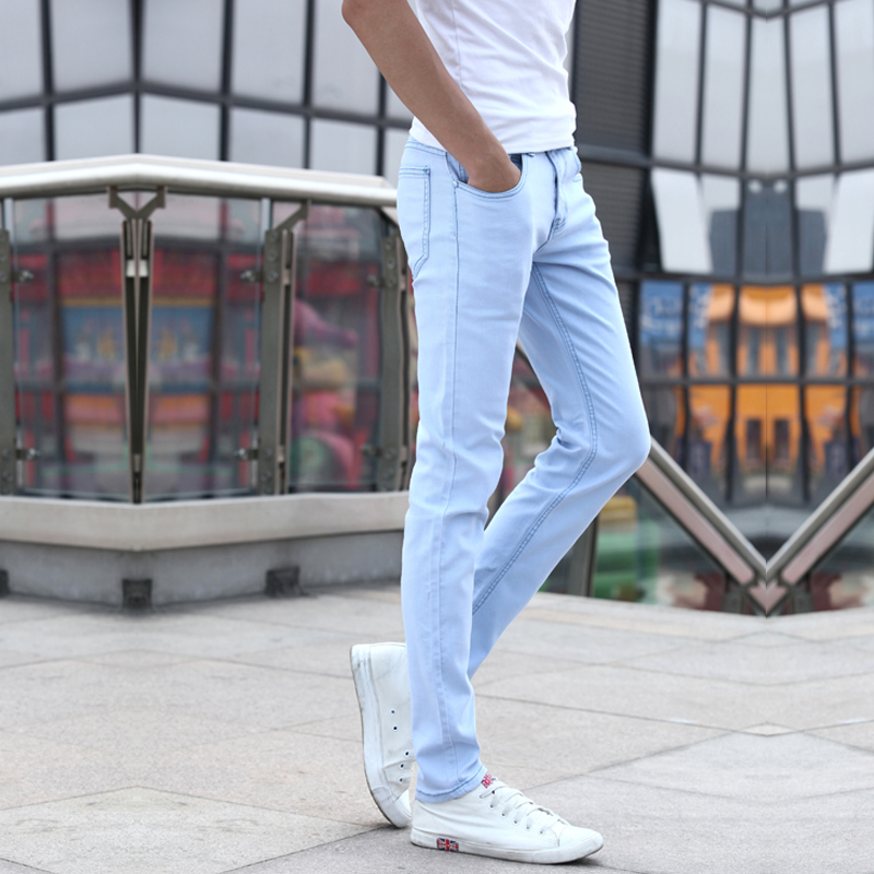 Men Skinny   Jeans   New Spring Light Blue Denim   Jeans   Men Stretch Slim Long   Jeans   Pants Solid Casual Summer   Jeans   Size 27-36