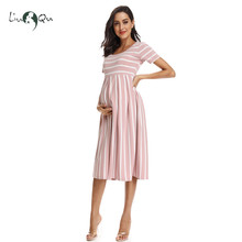 Women's Summer Casual Striped Maternity Dress Short Sleeve Knee Length Pregnancy Dresses Clothes Pleated Baby Shower Dress Pink