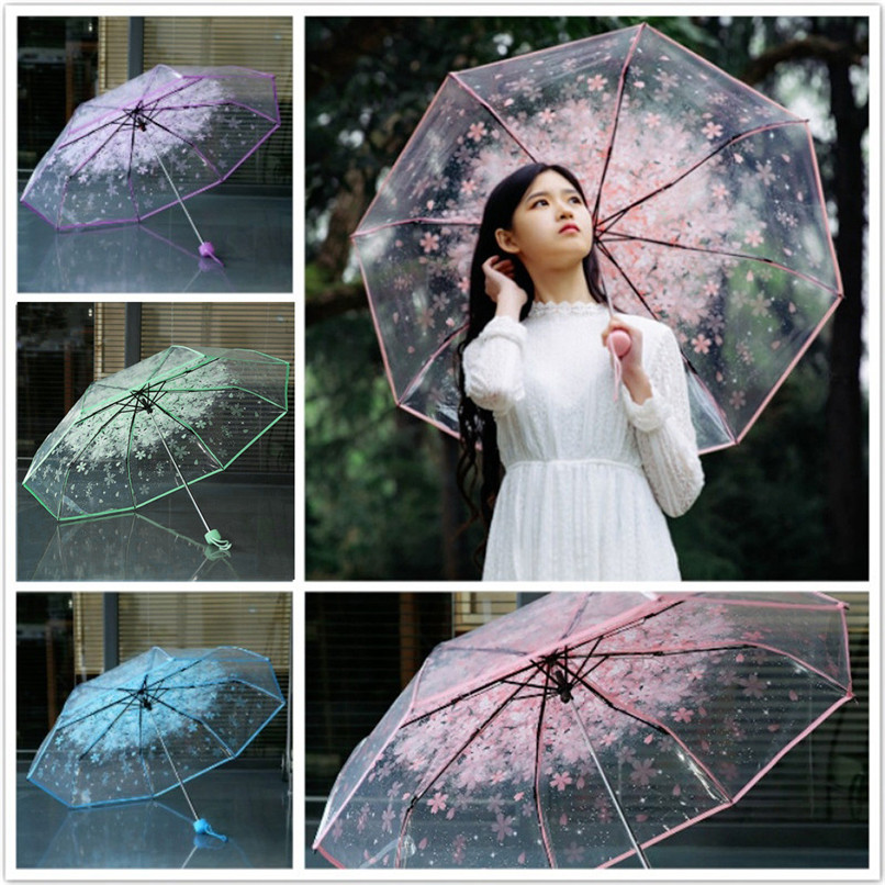 New Transparent Clear Umbrella Cherry Blossom Mushroom Apollo Sakura 3 Fold Umbrella Wholesale Free Shipping 3RL27