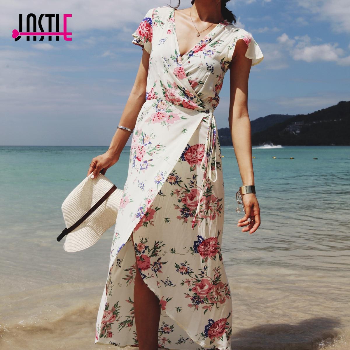 Maxi Jurk Met Korte Mouwen.Jastie Wrap Maxi Jurk Vintage Bloom Print Vrouwen Jurk V Hals Korte