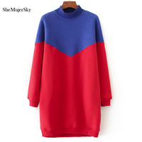 SheMujerSky Long Hoodie Dress O Neck Blue Spliced Red Sweatshirt Hoodies Women Warm Mulheres Moletom