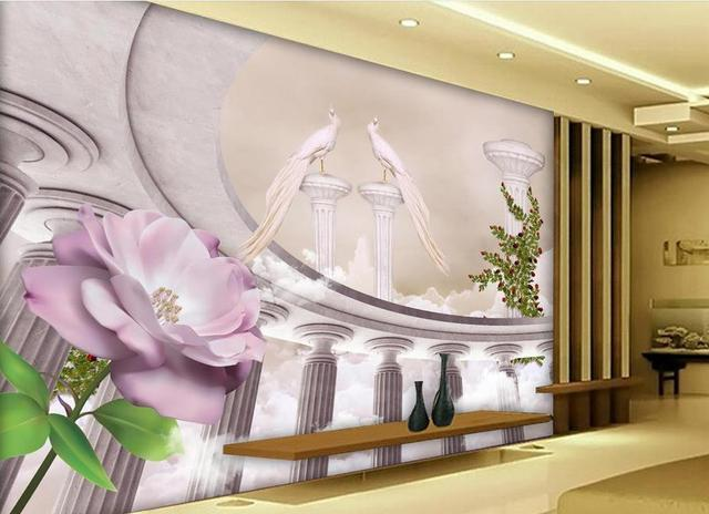 Behang In Badkamer : Aanpassen behang badkamer romeinse kolom behang interieur 3d