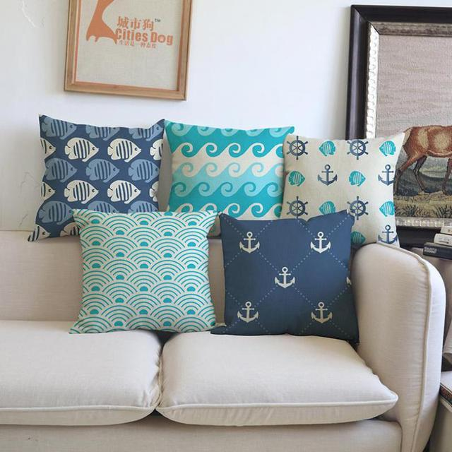 New Hot Modern Minimalist Ocean Stripes Waves Sailing Ships Anchor Patterns  Pillow Car Seat Sofa Geometric