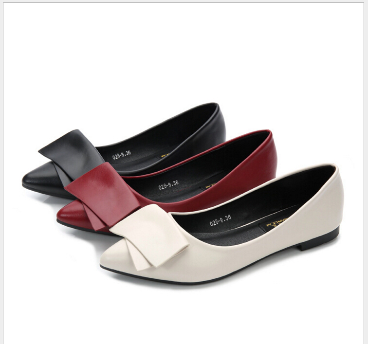 2017 Spring Summer new Fashion bow point toe flat shoes women ballet flats women Plus size #34-41 2017 spring summer new women casual pointed toe loafers flats ballet ballerina flat shoes plus size 34 43