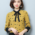 2017 New Spring Bow Blouse Shirt Women's Clothing Stand Collar Yellow Chiffon Blouse Women Shirt Top Printed Shirt Plus Size