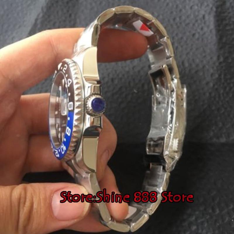 40mm Parnis cadran noir en céramique Rotatig lunette saphir verre céramique lunette GMT automatique hommes montre-in Montres mécaniques from Montres    3