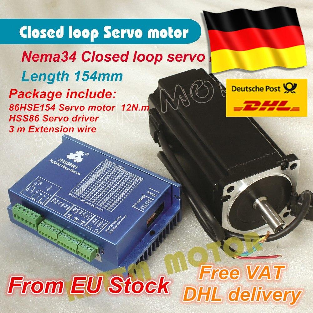 1 Set Nema34 Closed Loop Servo motor Motor 6A Closed Loop 12N.m L-154mm & HSS86 Hybrid Step-servo Driver 8A CNC Controller Kit