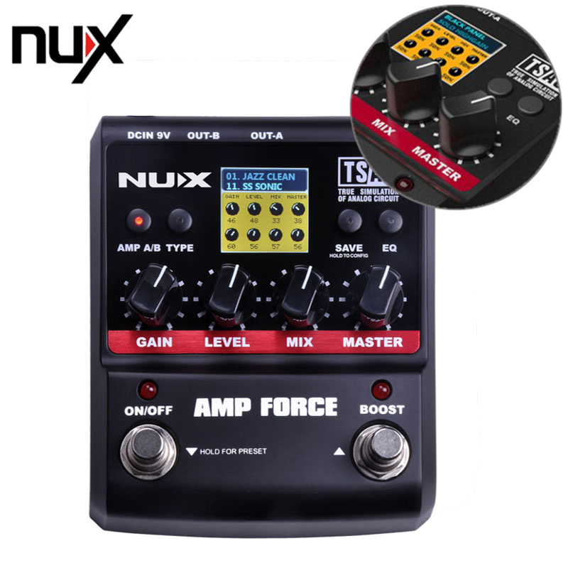 NUX AMP Force Effects Pedal Amplifier Simulator Guitar Pedal Electric Effect Pedal 12 Modeling Models 3-band EQ Color Screen New