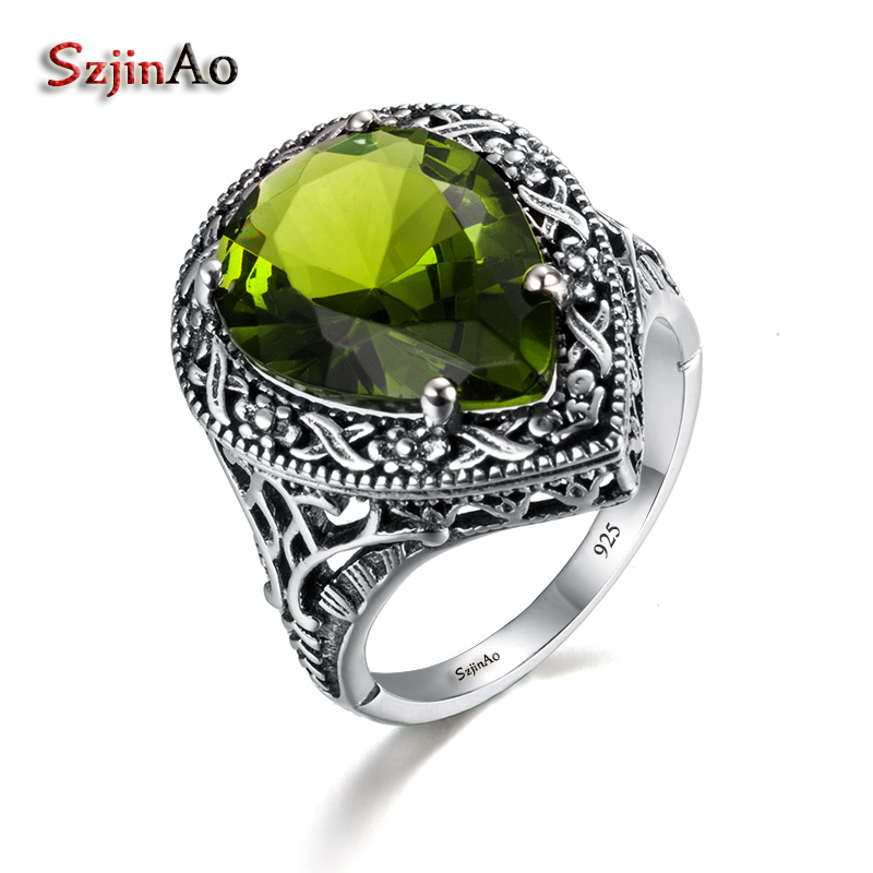 Szjinao Love Rings For Women Antique Jewelry Green Olivine Women Authentic 925 Sterling Silver Ring Tibetan Handmade Ring