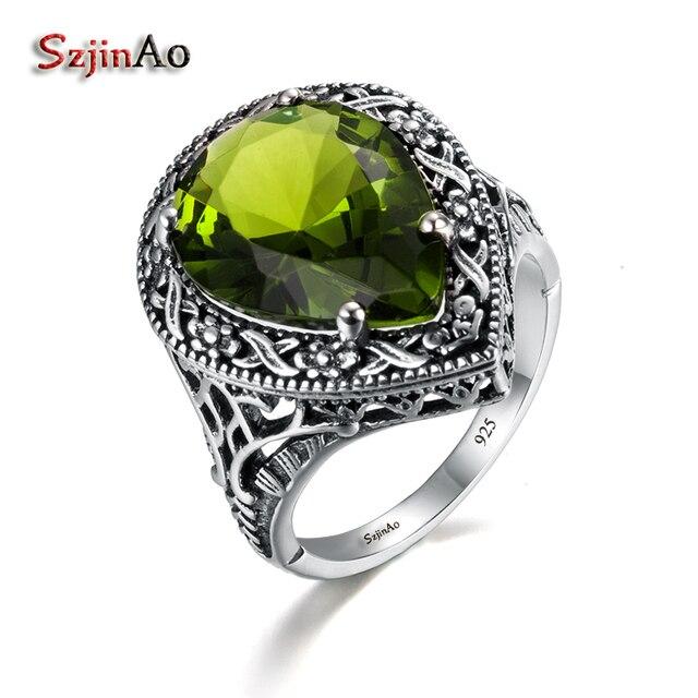 Szjinao Tình Yêu Nhẫn Đối Với Phụ Nữ Đồ Trang Sức Cổ Màu Xanh Lá Cây Olivin Phụ Nữ Đích Thực 925 Sterling Silver Ring Tây Tạng Handmade Vòng
