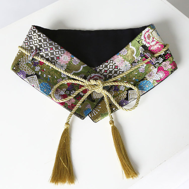 [CHICEVER] Caseros Moda 2017 Nuevo Retro Vintage Oro Bordado Kimono Cinturones De Mujer De Moda