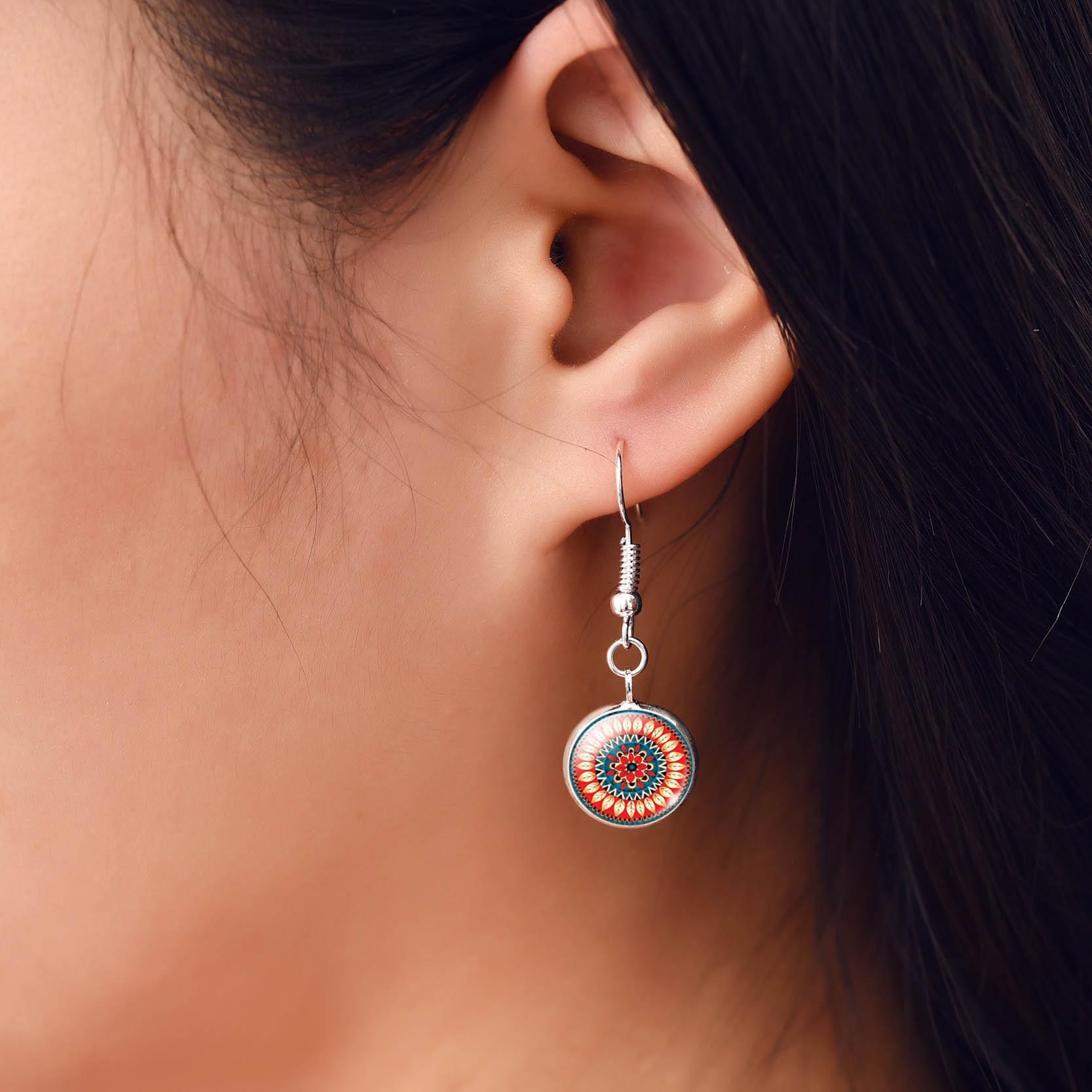 2017 New Fashion Mandala Flower Glass Cabochon Statement Earrings Jewelry For Women Buddhism Mandala Long Drop Earrings Women