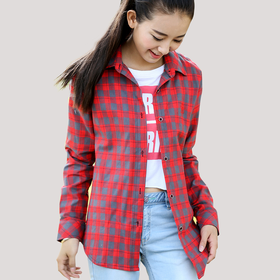 Womens Red Plaid Flannel Shirt Fit Slim Casual Long Sleeve