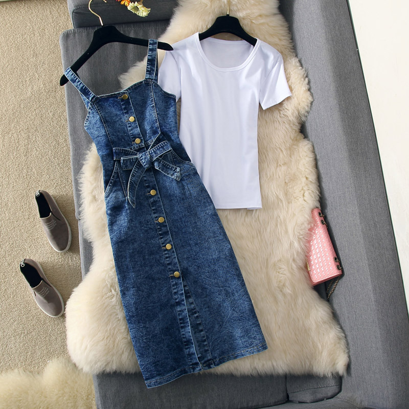 2019 New Spring Womens Sexy Dress 2 Piece Set Single breasted Strap Denim Dress + White T shirt Female Casual Jean Dresses Suit