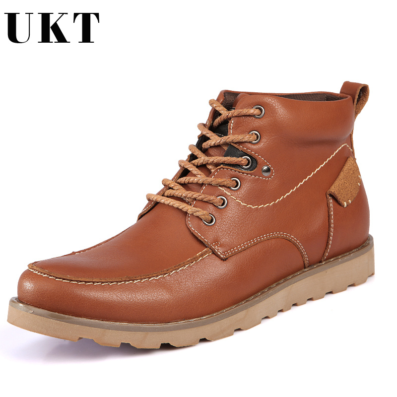 цены Autumn and Winter Boots Men Work Safety Shoes Genuine Leather Lace-up Men Shoes Fashion Motorcycle Martin Cowboy Ankle Boot