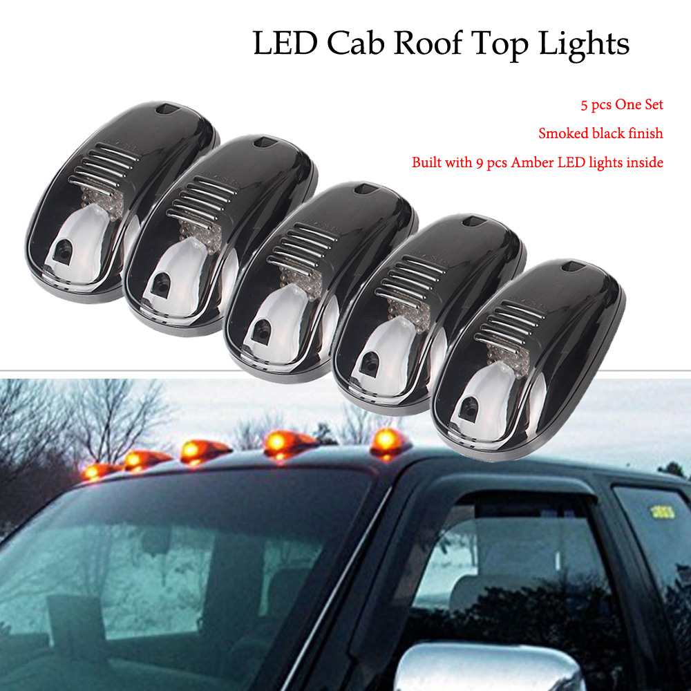 9 LEDs Cab Roof Top Running Marker Light for 4x4 / Off-Road / SUV / Crossover / Jeep / RV / Offroad /Pickup truck vehicle Smoke