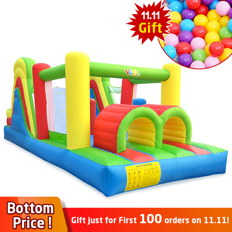 YARD Inflatable Trampoline Bouncer Obstacle Large 6.5*2.8*2.4M Slide Foldable Inflatable Castle Kids Ship By Express Christmas factory direct inflatable slide inflatable castle inflatable obstacle kyb 40