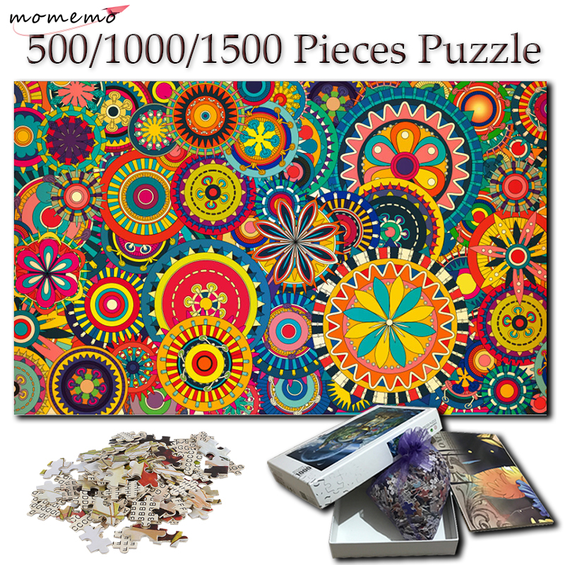 MOMEMO Colorful Petals Puzzles Jigsaw for Adults Wooden 500 1000 1500 Pieces Hand Painted Puzzle Creative Puzzle Toys Kids Gifts