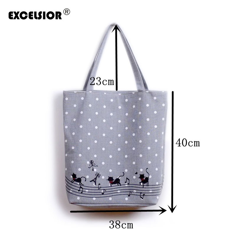 EXCELSIOR-Women-s-Cute-Cartoon-Music-Cats-Printed-Shopping-Handbag-Ladies-One-Shoulder-Canvas-Bags-Female_