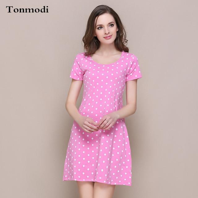 Modal Algodão Nightgowns Sleepshirts Nightdress saia curta Das Mulheres de Verão Com Uma Almofada No Peito